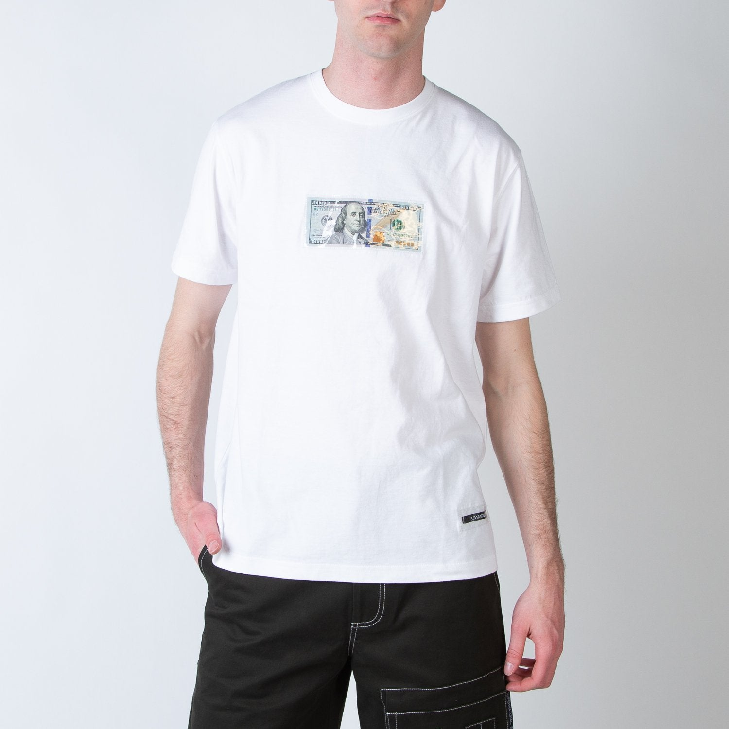 100$ dollar bill t-shirt in white by 3.Paradis at Secret Location