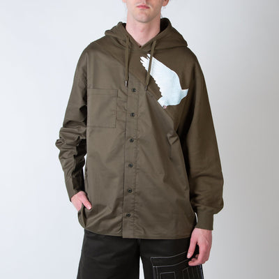 Spliced hoodie shirt with dove print in army green by 3.Paradis at Secret Location