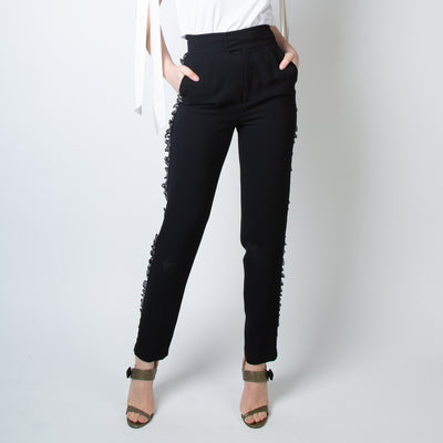 High-Waist Studded Trousers