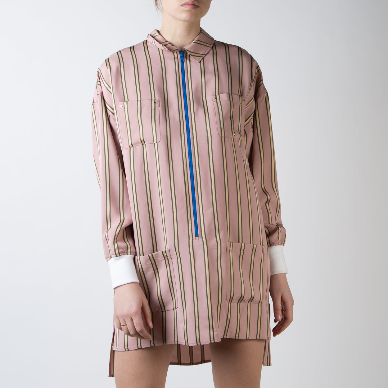 Stripe Satin Tunic Shirt-Dress
