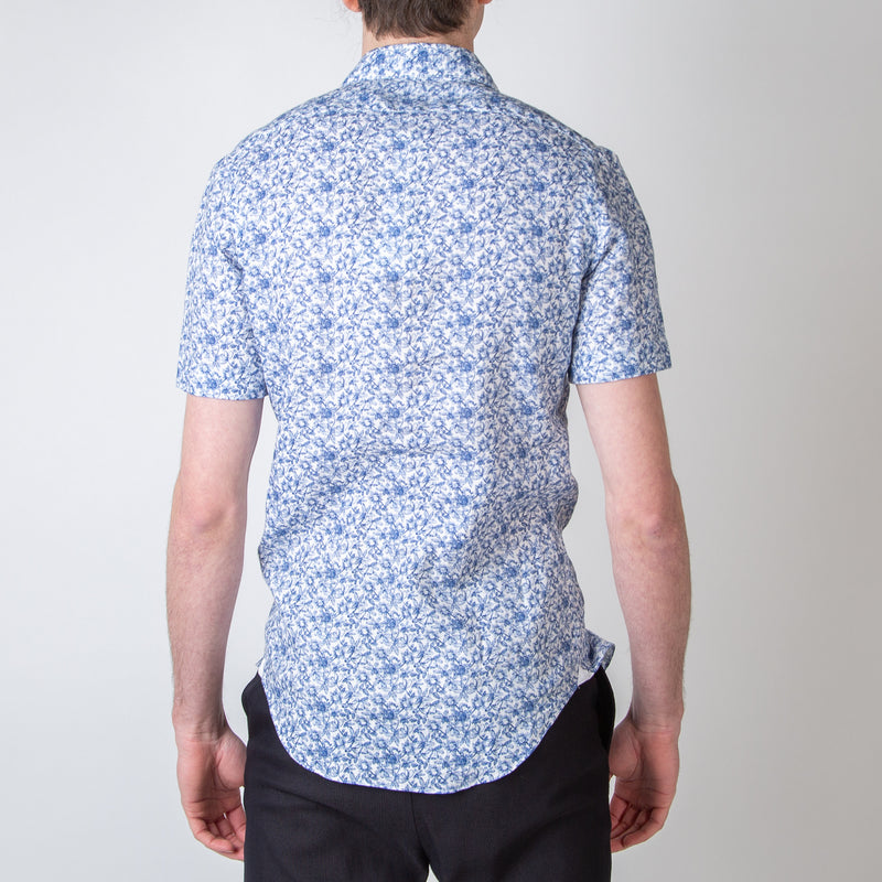 White with Blue Floral Detail Short Sleeved Shirt