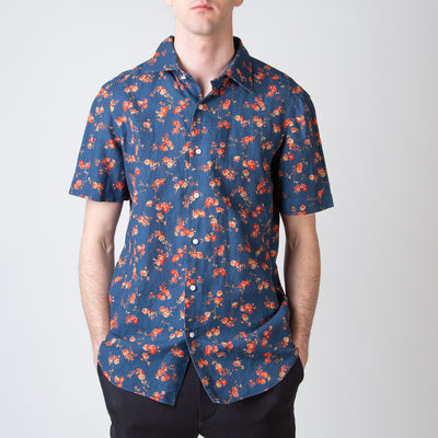 Navy with Floral Detail Short Sleeved Shirt
