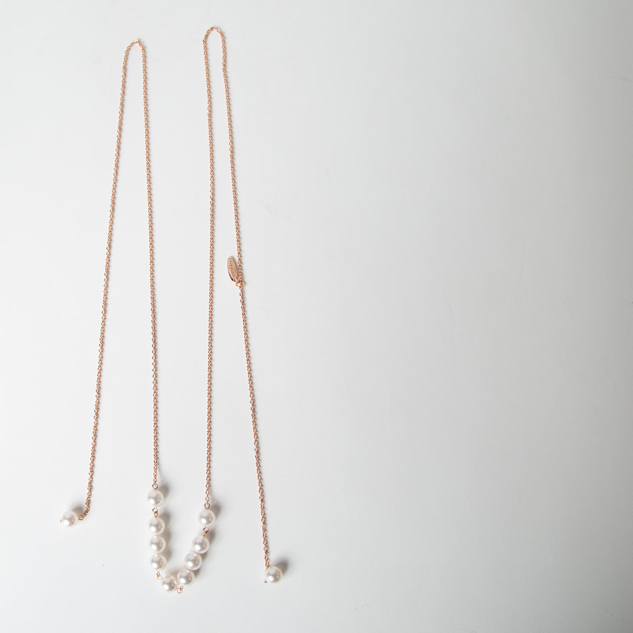 Long Lariat Chain Necklace with Multi Pearls