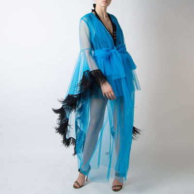 Evangeline Tulle/Feather Sheer Boudoir Robe - Blue