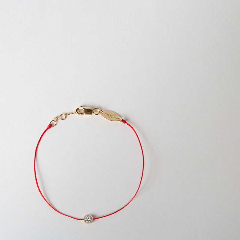 Pure String Bracelet, red with yellow gold