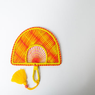 Two-Tone Tassel Fan, orange/yellow