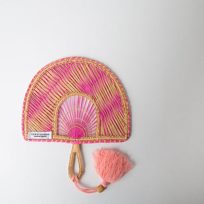 Two-Tone Tassel Fan, pink/beige