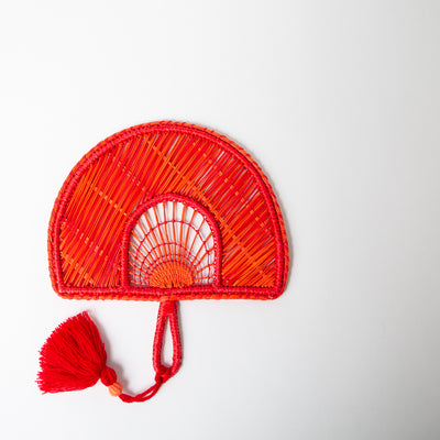 Two-Tone Tassel Fan, red/orange