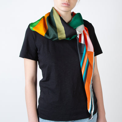 Mixed Large Stripes Print Scarf