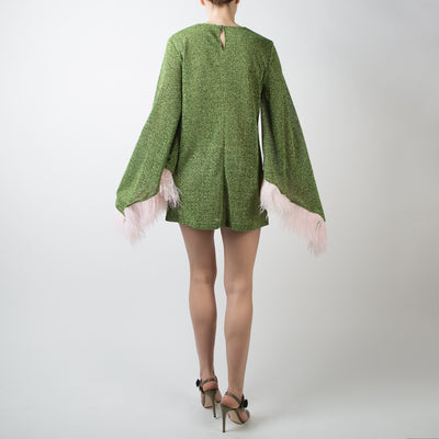 Green Mini Dress with Ostrich Feather