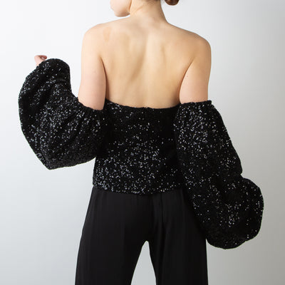 Black Tie Top with Balloon Sleeves