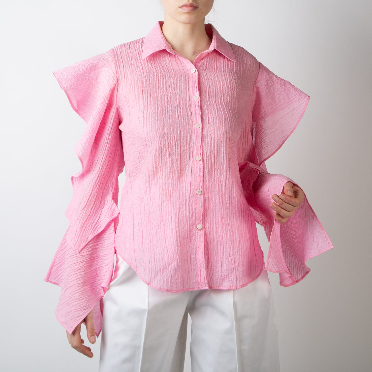 Pink Blouse with Ruffle
