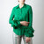 Green Blouse with Ruffle Cuff