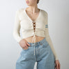 Lace Up Front Sweater, cream