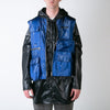 Blue nylon utility vest with hidden parka by 3.Paradis at Secret Location