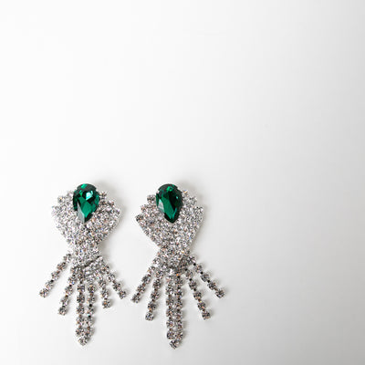 Large Crystal and Green Earrings