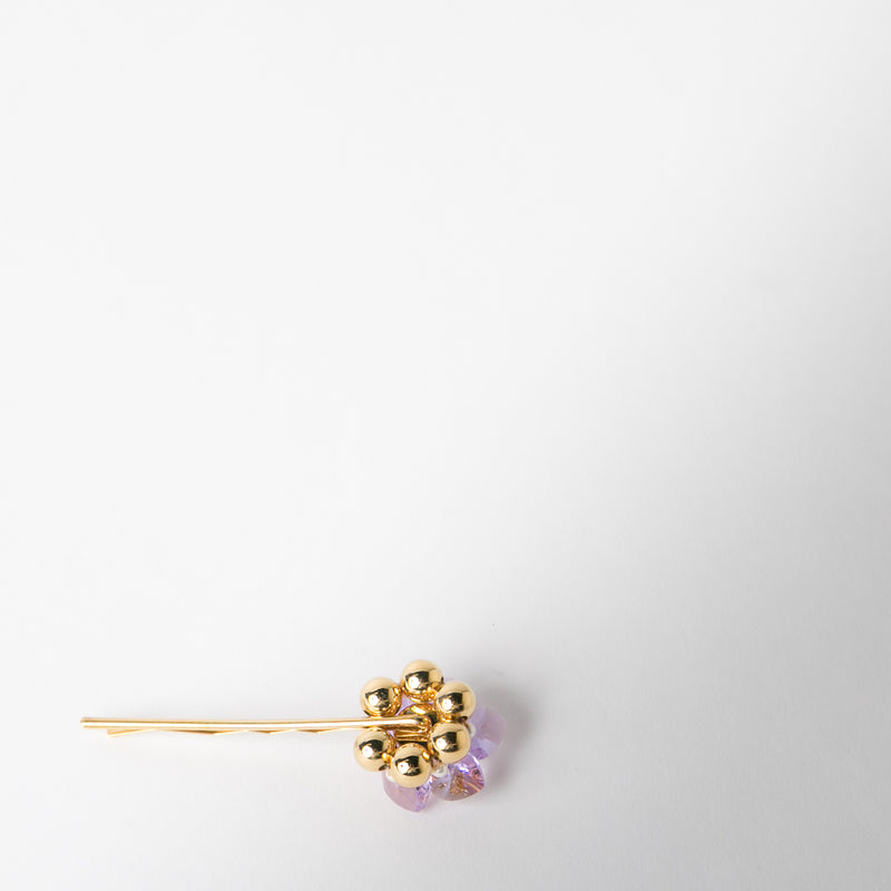 purple and gold crystal hair pin by Chabaux jewelry at Secret Location