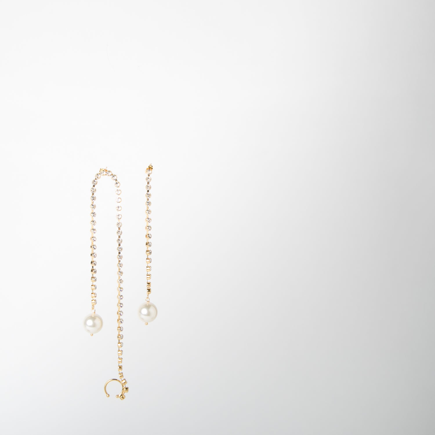 gold crystal & pearl earrings by Chabaux jewelry at Secret Location