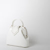 croc embossed leather handbag in white by Mehry Mu at Secret Location