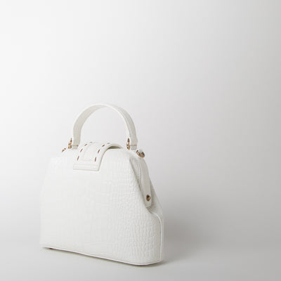 backside croc embossed leather handbag in white by Mehry Mu at Secret Location