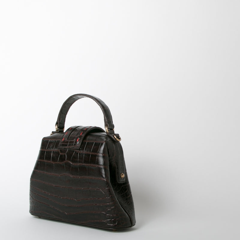 croc embossed leather handbag in brown by Mehry Mu at Secret Location