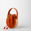 Suede Bucket bag, orange with gold hardware