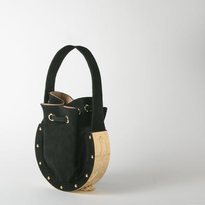 Suede Bucket bag, black with gold hardware