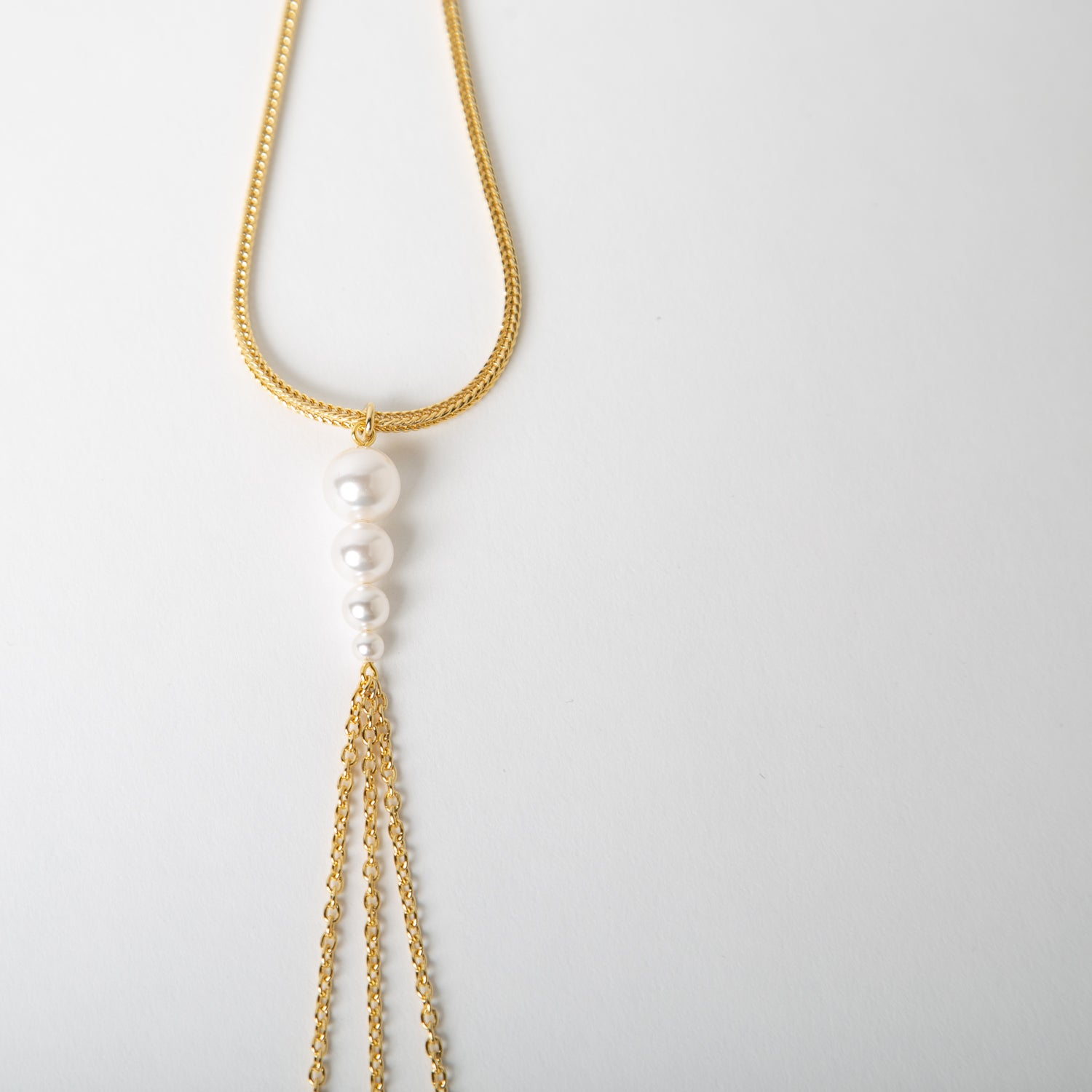 Necklace w/  Long Chain & Pearls