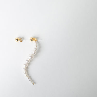 asymmetric earrings with pearl drops & gold studs