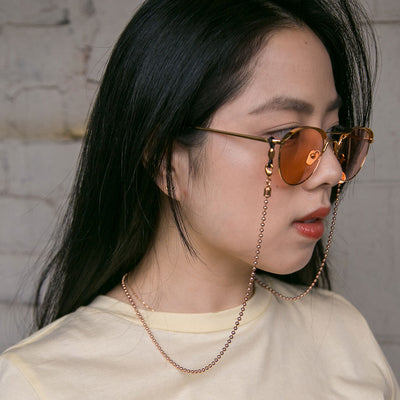 Fashion ball-chain eyewear strap in rose gold by Poco Loco