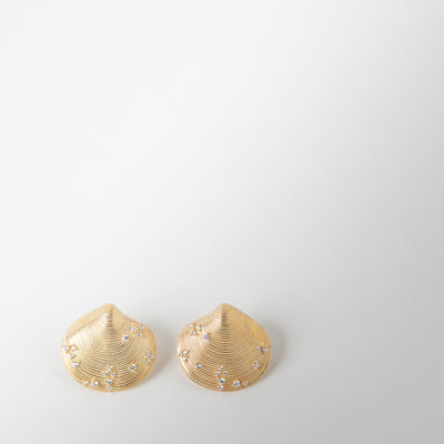 gold seashell earrings with cubic zirconia by Apples & Figs
