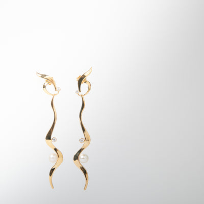 curved gold hanging earrings with pearls & cubic zirconia by Apples & Figs