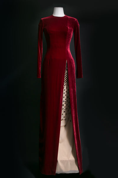 Long Sleeve Slit Gown