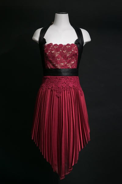Halterneck Lace & Pleated Dress
