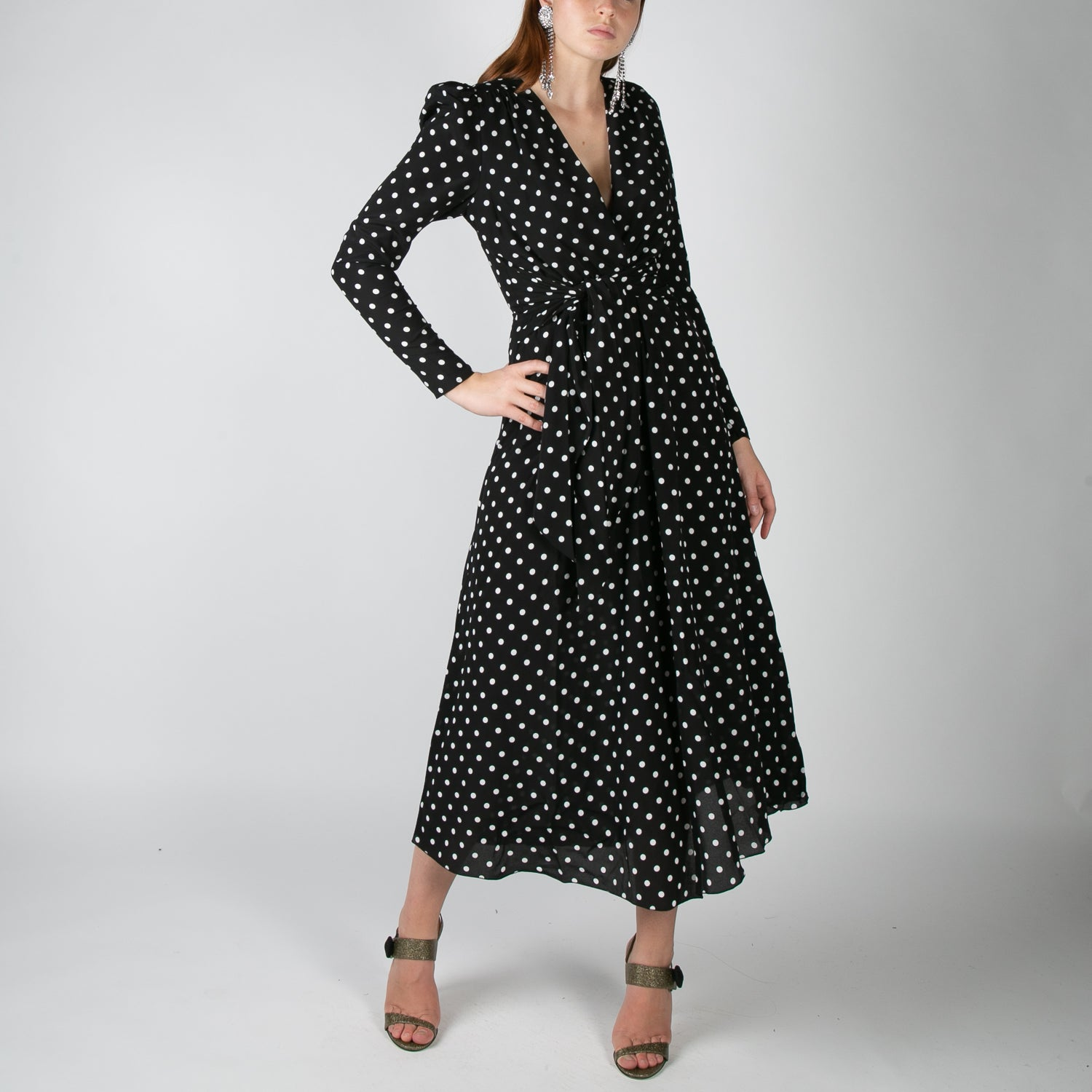 black and white polka dot silk dress by Alessandra Rich at Secret Location