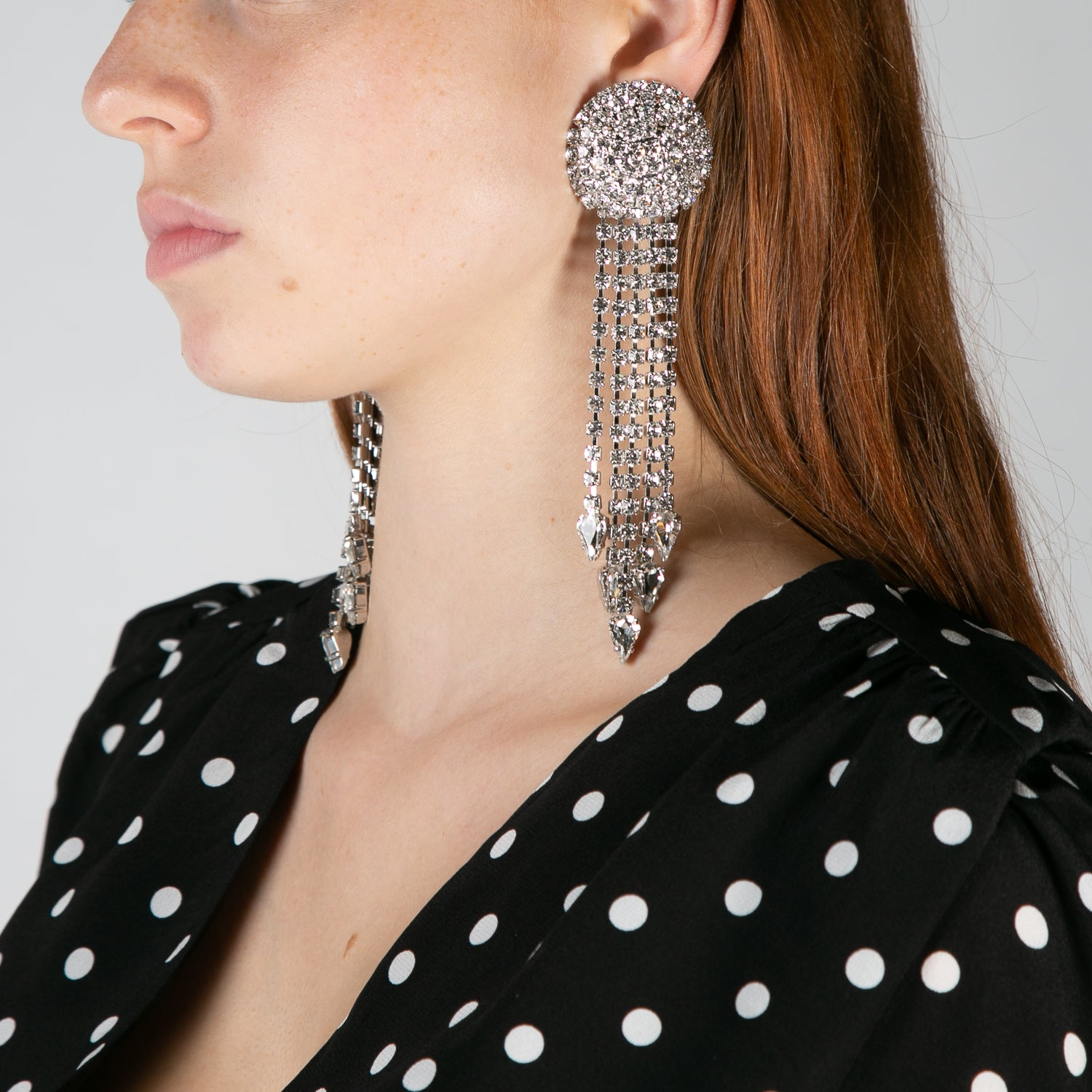 women's crystal circle and fringe earrings by Alessandra Rich at Secret Location