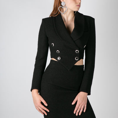 women's cropped tweed blazer with crystal buttons by Alessandra Rich at Secret Location