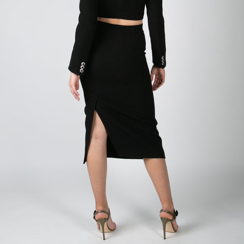 women's black tweed mid length skirt by Alessandra Rich at Secret Location