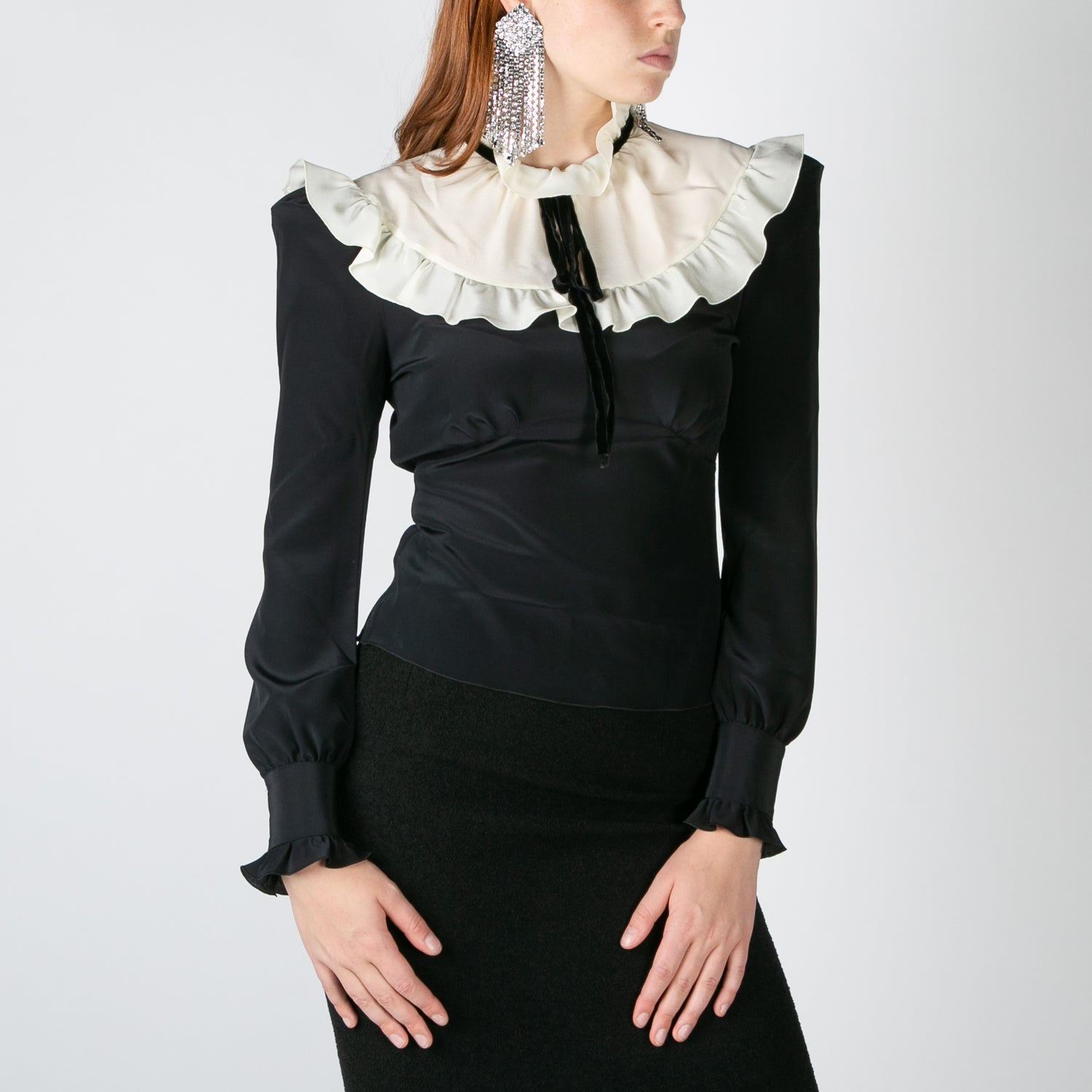 black silk long sleeve blouse with collar by Alessandra Rich at Secret Location