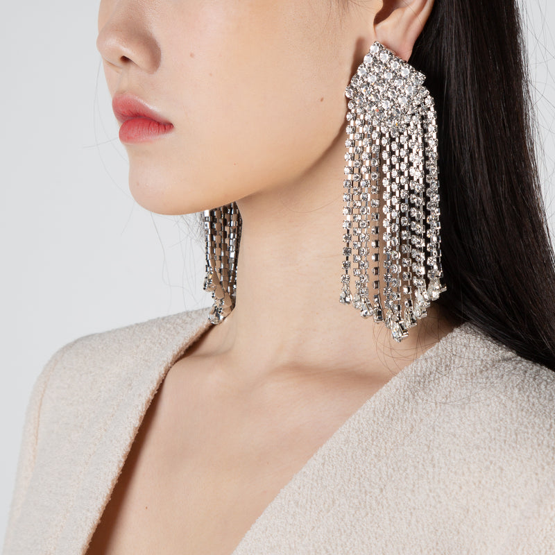Crystal square and fringe earrings by Alessandra Rich at Secret Location