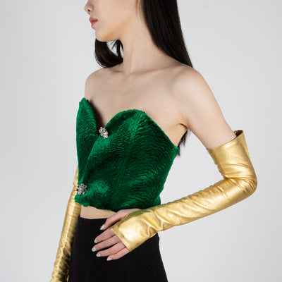 Long gold fingerless gloves in leather by Alessandra Rich at Secret Location