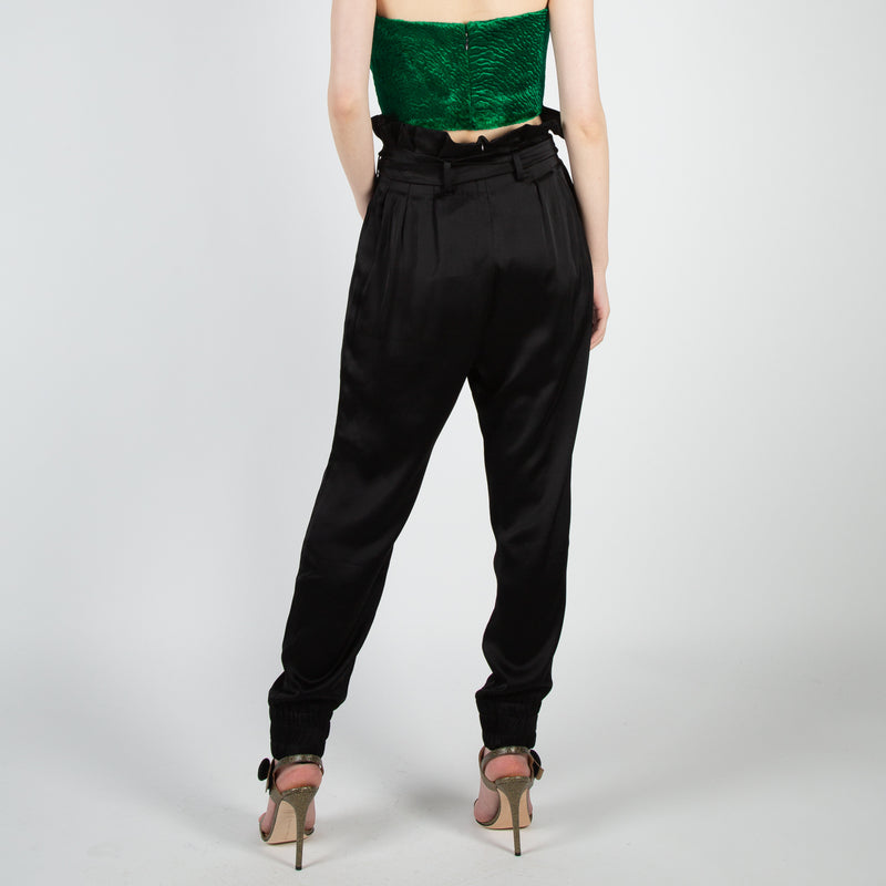 high-waist joggers in black satin by Mother of Pearl at Secret Location
