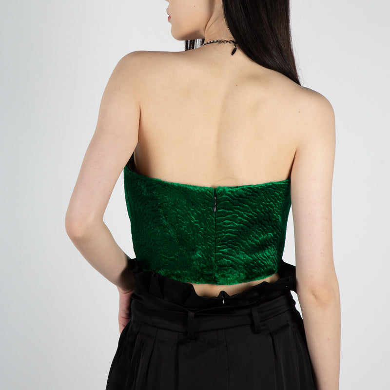 Green velvet bustier with crystal buttons by Attico at Secret Location
