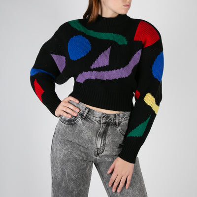 knitted dolman sleeve pullover with stylish motif by Attico at Secret Location