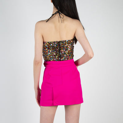 Full Sequined Strapless Top