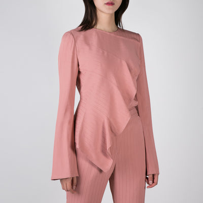 pink long sleeve blouse with asymmetric ruffle by Dawei at Secret Location