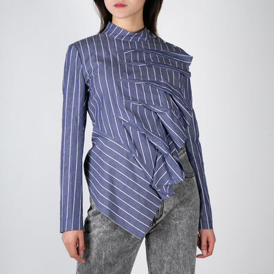 ruffle blue and white stripe blouse long sleeve by Dawei at Secret Location