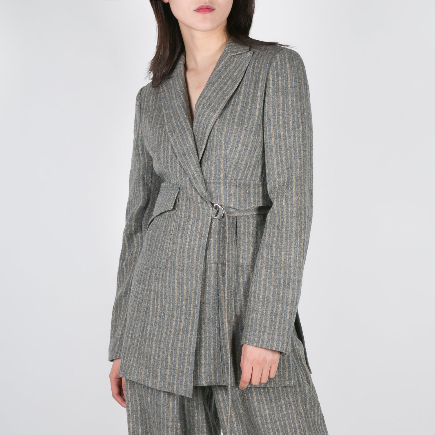 stripped wool blazer with waist strap by Dawei at Secret Location