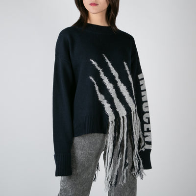 knitted pullover sweater with claw fringe in grey by Dawei at Secret Location
