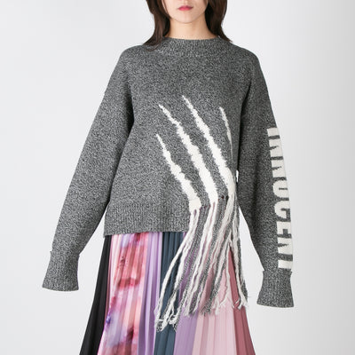 knitted pullover with asymmetric claw fringe by Dawei at Secret Location